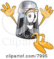 Clipart Picture Of A Pepper Shaker Mascot Cartoon Character Jumping