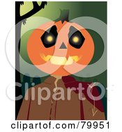 Royalty Free RF Clipart Illustration Of A Spooky Pumpkin Head Man With A Bloody Shoulder Over A Green Cemetery Background by Randomway