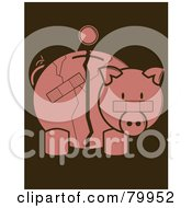 Royalty Free RF Clipart Illustration Of A Coin Over A Cracked And Bandaged Piggy Bank