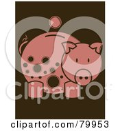 Royalty Free RF Clipart Illustration Of A Coin Over A Pink Piggy Bank With Brown Spots