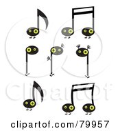 Royalty Free RF Clipart Illustration Of A Digital Collage Of Happy Yellow Eyed Music Note Characters