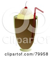 Royalty Free RF Clipart Illustration Of A Root Beer Float Topped With Whipped Cream And A Cherry And Served With A Straw by Randomway