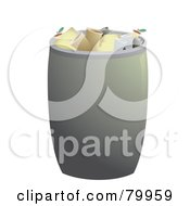 Royalty Free RF Clipart Illustration Of A Full Metal Trash Can With Cans And Garbage