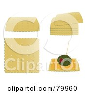 Royalty Free RF Clipart Illustration Of A Digital Collage Of Single Stacked And Garnished Crackers