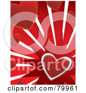 Royalty Free RF Clipart Illustration Of A Silver Heart Bursting On Red With Other Hearts