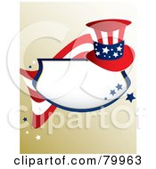 Royalty Free RF Clipart Illustration Of A Patriotic American Plaque With Blue Stars A Flag And Hat On Gradient Brown
