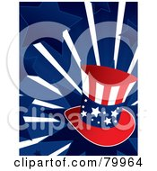 Royalty Free RF Clipart Illustration Of A Patriotic Uncle Sam Hat On A Bursting Blue Star Background