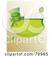 Green St Paddys Day Text Box With A Hat Spirals And Shamrocks