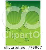 Royalty Free RF Clipart Illustration Of A Green St Paddys Day Background With Clover Spirals Over A Burst by Randomway