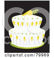 Royalty Free RF Clipart Illustration Of A Double Tiered Carrot Cake With A Carrot On Top by Randomway