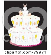 Royalty Free RF Clipart Illustration Of A Double Tiered Easter Cake With Vanilla Frosting And An Easter Bunny On Top by Randomway