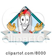 Clipart Picture Of A Rocket Mascot Cartoon Character With A Blank Label