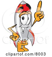 Clipart Picture Of A Rocket Mascot Cartoon Character Pointing Upwards