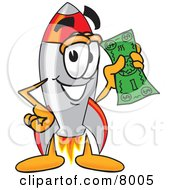 Clipart Picture Of A Rocket Mascot Cartoon Character Holding A Dollar Bill by Toons4Biz