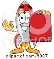 Clipart Picture Of A Rocket Mascot Cartoon Character Holding A Red Sales Price Tag by Toons4Biz