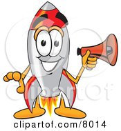 Clipart Picture Of A Rocket Mascot Cartoon Character Holding A Megaphone by Toons4Biz