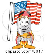 Clipart Picture Of A Rocket Mascot Cartoon Character Pledging Allegiance To An American Flag by Toons4Biz