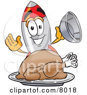 Clipart Picture Of A Rocket Mascot Cartoon Character Serving A Thanksgiving Turkey On A Platter by Toons4Biz