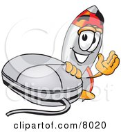 Clipart Picture Of A Rocket Mascot Cartoon Character With A Computer Mouse by Toons4Biz