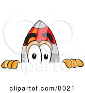 Clipart Picture Of A Rocket Mascot Cartoon Character Peeking Over A Surface by Toons4Biz
