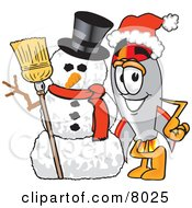 Clipart Picture Of A Rocket Mascot Cartoon Character With A Snowman On Christmas