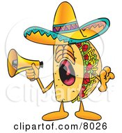 Taco Mascot Cartoon Character Screaming Into A Megaphone