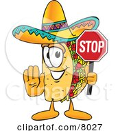 Taco Mascot Cartoon Character Holding a Stop Sign