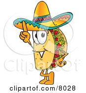 Clipart Picture Of A Taco Mascot Cartoon Character Pointing Upwards