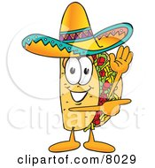 Taco Mascot Cartoon Character Waving And Pointing