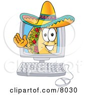 Clipart Picture Of A Taco Mascot Cartoon Character Waving From Inside A Computer Screen