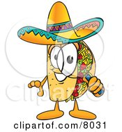 Clipart Picture Of A Taco Mascot Cartoon Character Looking Through A Magnifying Glass by Toons4Biz