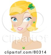 Smiling Blond Christmas Woman Wearing Holly In Her Hair