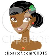 Royalty Free RF Clipart Illustration Of A Smiling Indian Christmas Woman Wearing Holly In Her Hair
