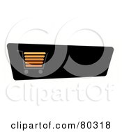 Royalty Free RF Clipart Illustration Of An Orange And Gray Shopping Cart On A Black Checkout Website Button by oboy