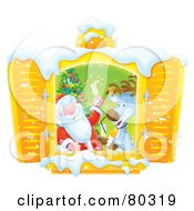 Royalty Free RF Clipart Illustration Of Open Shutters Framing A Reindeer And Santa Toasting By A Christmas Tree