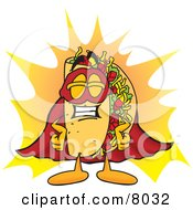 Clipart Picture Of A Taco Mascot Cartoon Character Dressed As A Super Hero by Toons4Biz