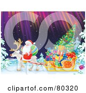 Royalty Free RF Clipart Illustration Of Santa Riding On A Reindeers Back As They Pull A Sleigh With Presents And A Tree Through A Winter Night With Northern Lights