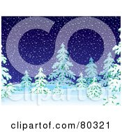 Royalty Free RF Clipart Illustration Of A Dark Snowing Night With Flocked Evergreen Trees by Alex Bannykh