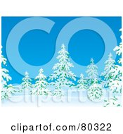Royalty Free RF Clipart Illustration Of Flocked Evergreen Trees In Snow On A Blue Winter Day