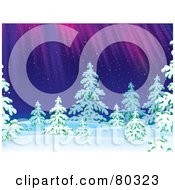 Royalty Free RF Clipart Illustration Of The Northern Lights Shining Down On Evergreen Trees On A Snowing Winter Night by Alex Bannykh