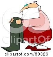 Royalty Free RF Stock Illustration Of Santa Folding A Green Towel