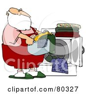 Santa Carrying A Basket Of Laundry By A Dryer