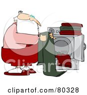 Royalty Free RF Stock Illustration Of Santa Folding Laundry By A Dryer