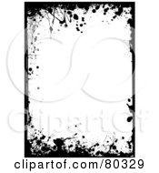 Royalty Free RF Clipart Illustration Of A Black And White Ink Splatter Border