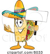 Clipart Picture Of A Taco Mascot Cartoon Character Holding A Blank Sign by Toons4Biz