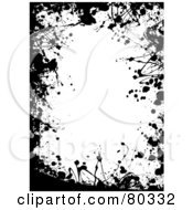 Royalty Free RF Clipart Illustration Of A Black And White Border Of Paint Splatters