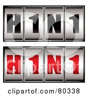 Royalty Free RF Clipart Illustration Of A Digital Collage Of Black And Red And Gray H1N1 Dials by michaeltravers