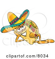Clipart Picture Of A Taco Mascot Cartoon Character Resting His Head On His Hand by Toons4Biz #COLLC8034-0015