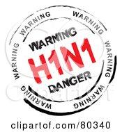 Red And Black Circular Warning H1n1 Stamp