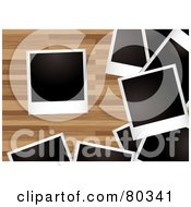 Royalty Free RF Clipart Illustration Of Scatted Blank Polaroid Pictures On A Wood Floor by michaeltravers
